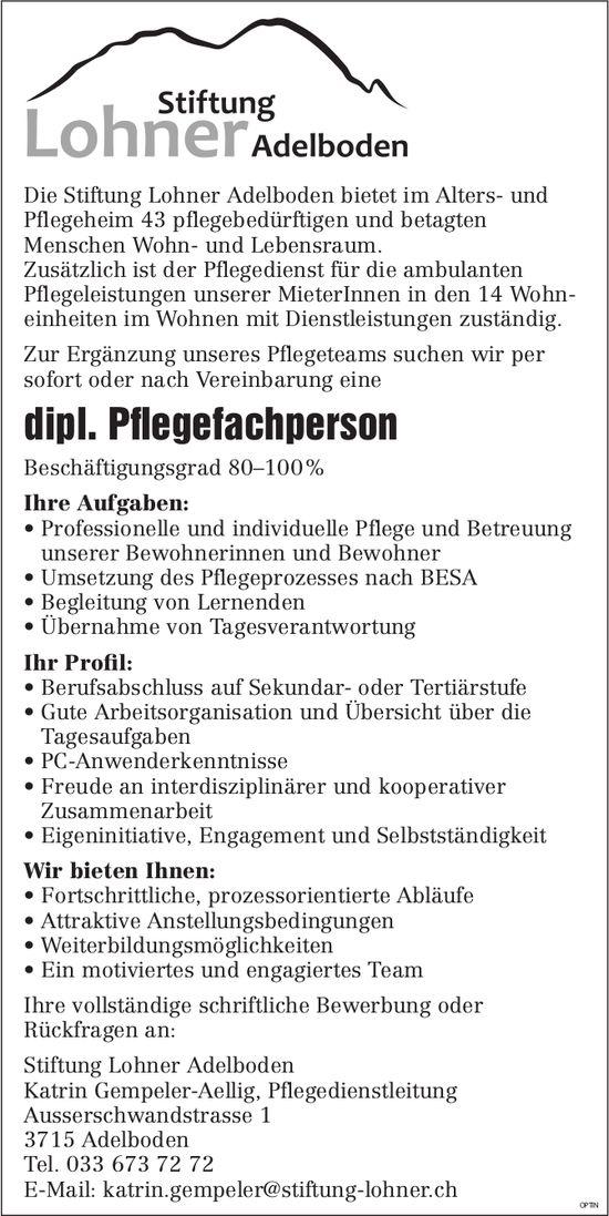 Dipl. Pflegefachperson, Stiftung Lohner Adelboden, gesucht