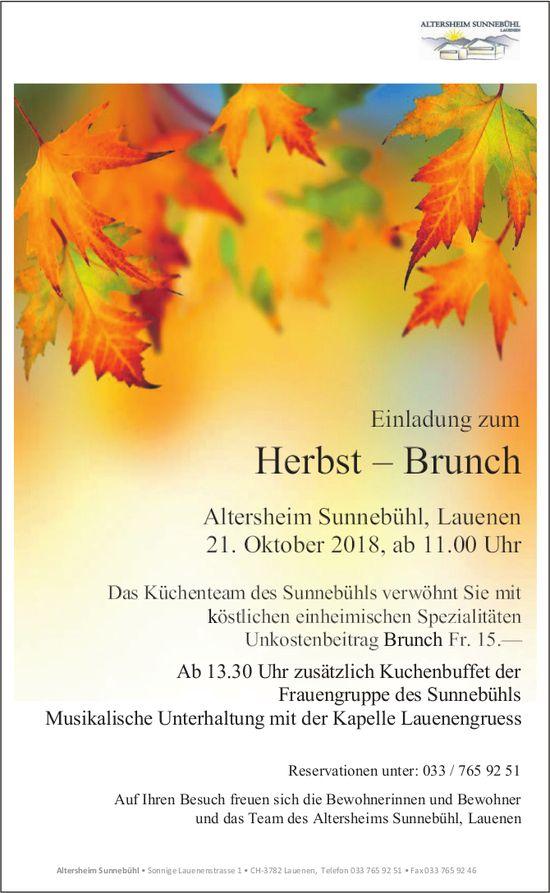Herbst – Brunch, 21. Oktober, Altersheim Sunnebühl