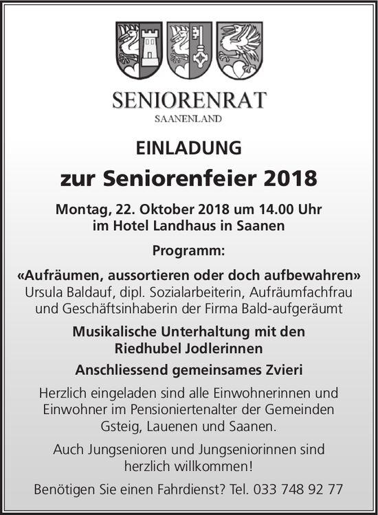 Seniorenfeier 2018, 22. Oktober, Hotel Landhaus in Saanen