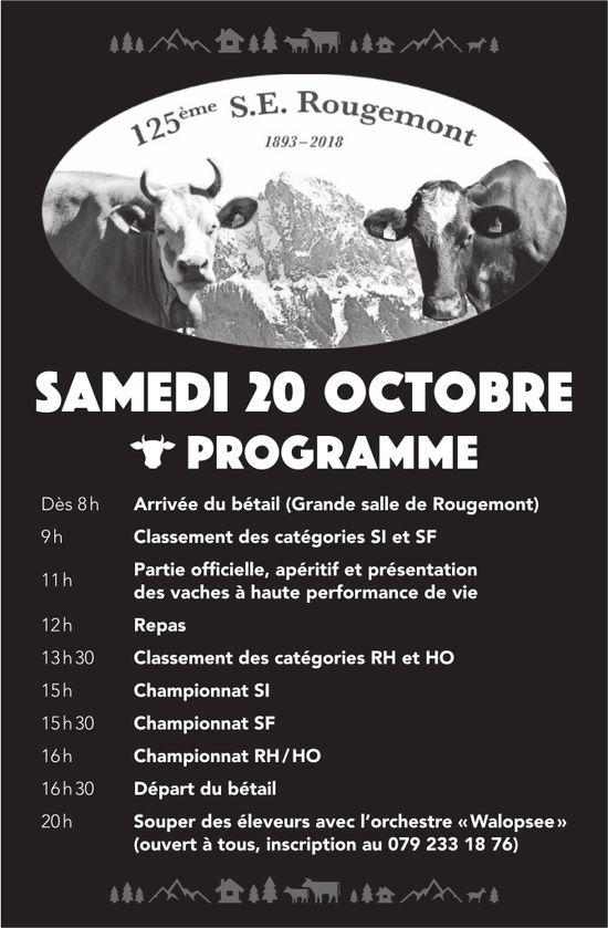 125ème S.E. Rougemont, 20. octobre, programme