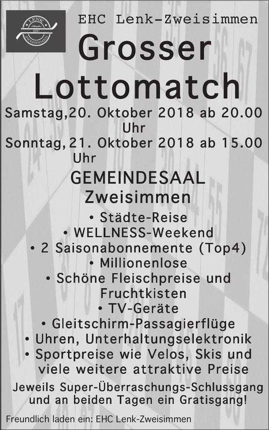 Grosser Lottomatch, 20./21. Oktober, Gemeindesaal Zweisimmen