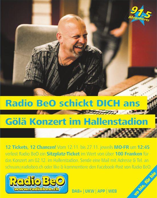RadioBeO - Radio BeO schickt DICH ans Gölä Konzert im Hallenstadion
