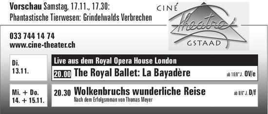 Kinoprogramm, Ciné Theatre, 13. - 15. November, Gstaad