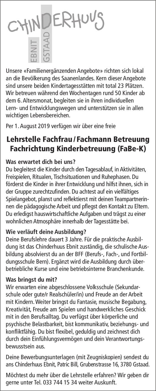 Lehrstelle Fachfrau / Fachmann Betreuung Fachrichtung Kinderbetreuung (FaBe-K), Chinderhuus Ebnit