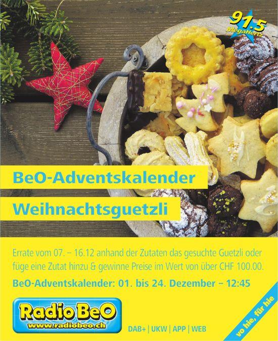 BeO-Adventskalender - Weihnachtsguetzli, Radio BeO