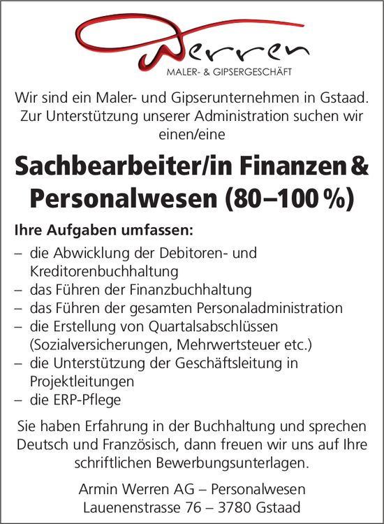 Sachbearbeiter/in Finanzen & Personalwesen (80–100%), Armin Werren AG