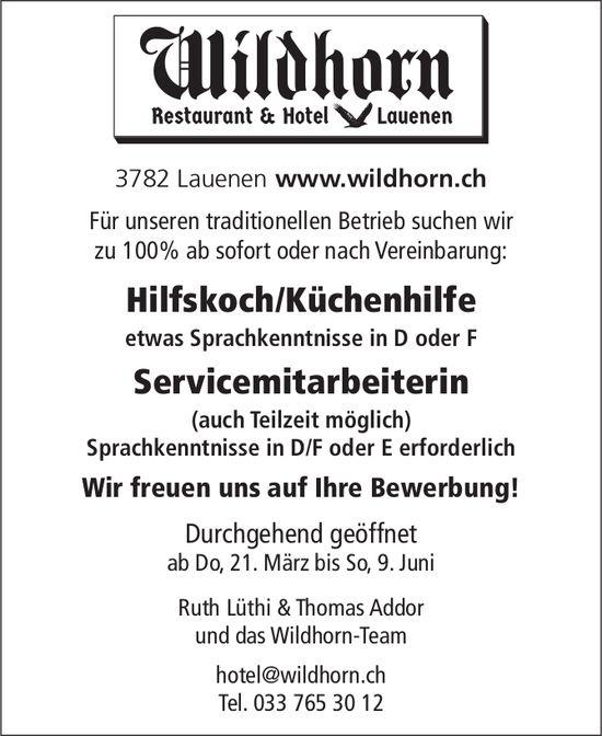 Hilfskoch/Küchenhilfe & Servicemitarbeiterin, Restaurant & Hotel Wildhorn, Lauenen, gesucht