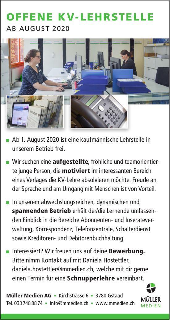 OFFENE KV-LEHRSTELLE AB AUGUST 2020, Müller Medien AG, Gstaad, zu vergeben