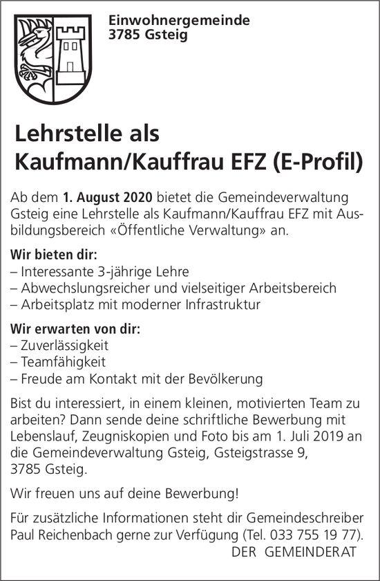 Lehrstelle als Kaufmann/Kauffrau EFZ 2020 (E-Profil), Einwohnergemeinde Gsteig, zu vergeben