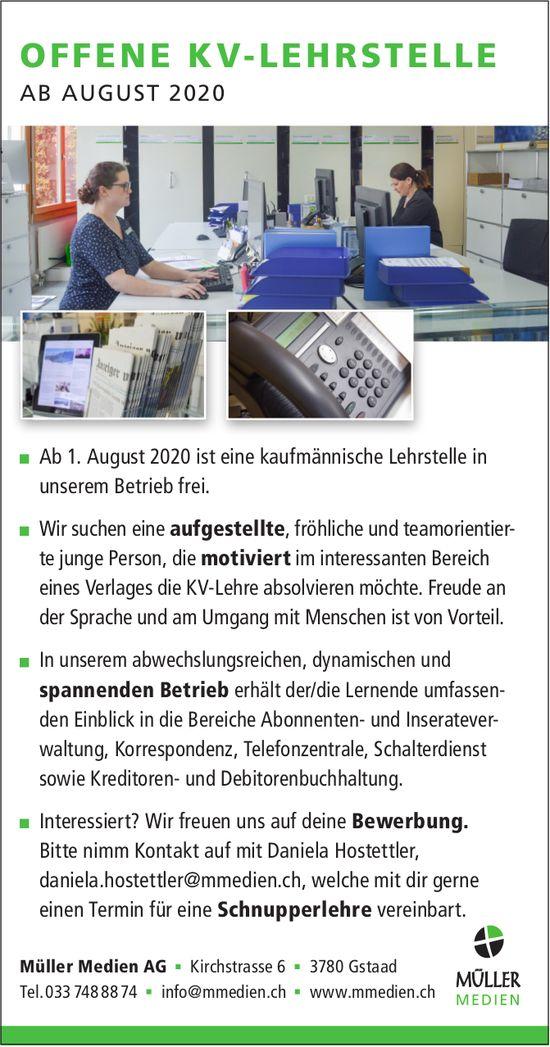 OFFENE KV-LEHRSTELLE 2020, Müller Medien AG, Gstaad, zu vergeben