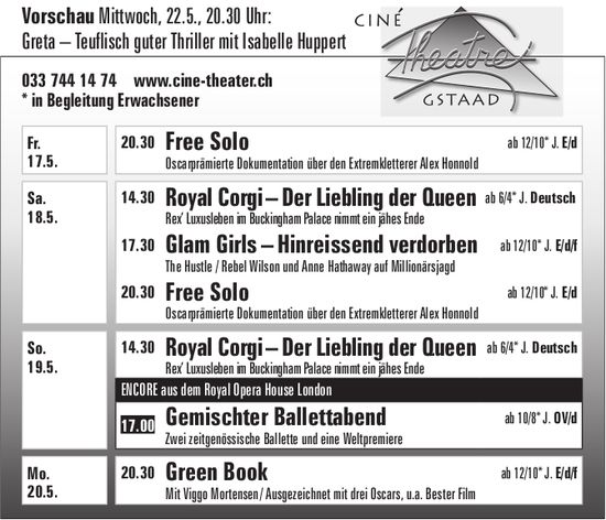 Kinoprogramm, 17. - 20. Mai, Ciné Theatre, Gstaad