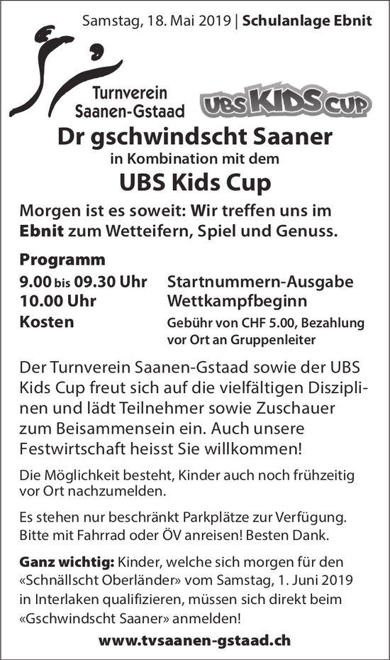 Dr gschwindscht Saaner in Kombination mit dem UBS Kids Cup, 18. Mai, Schulanlage Ebnit