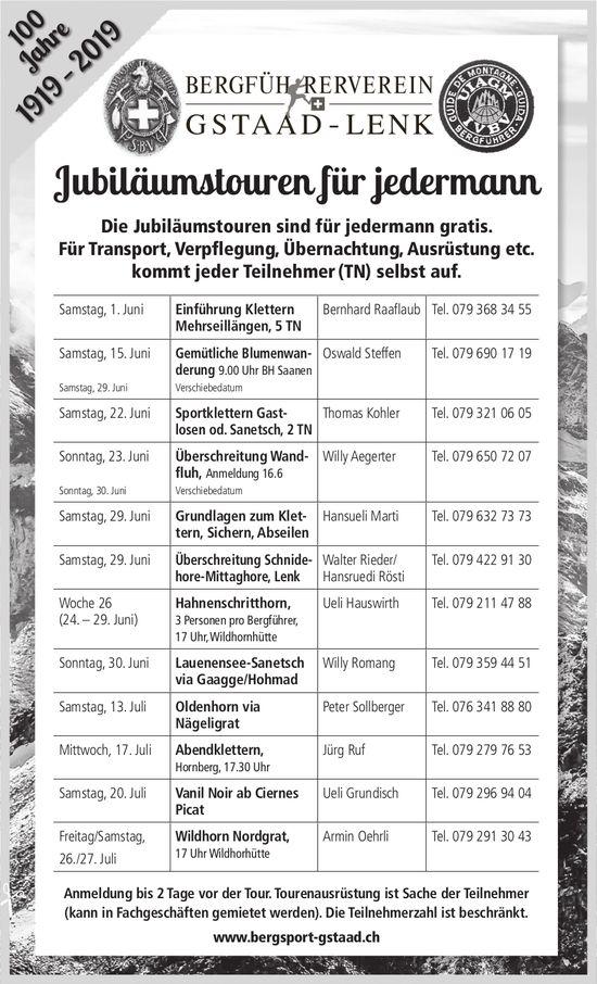 Jubiläumstouren für jedermann - Bergführerverein Gstaad-Lenk