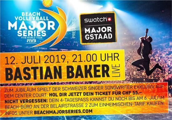 BEACH VOLLEYBALL MAJOR SERIES, 12. JULI, BASTIAN BAKER LIVE, GSTAAD