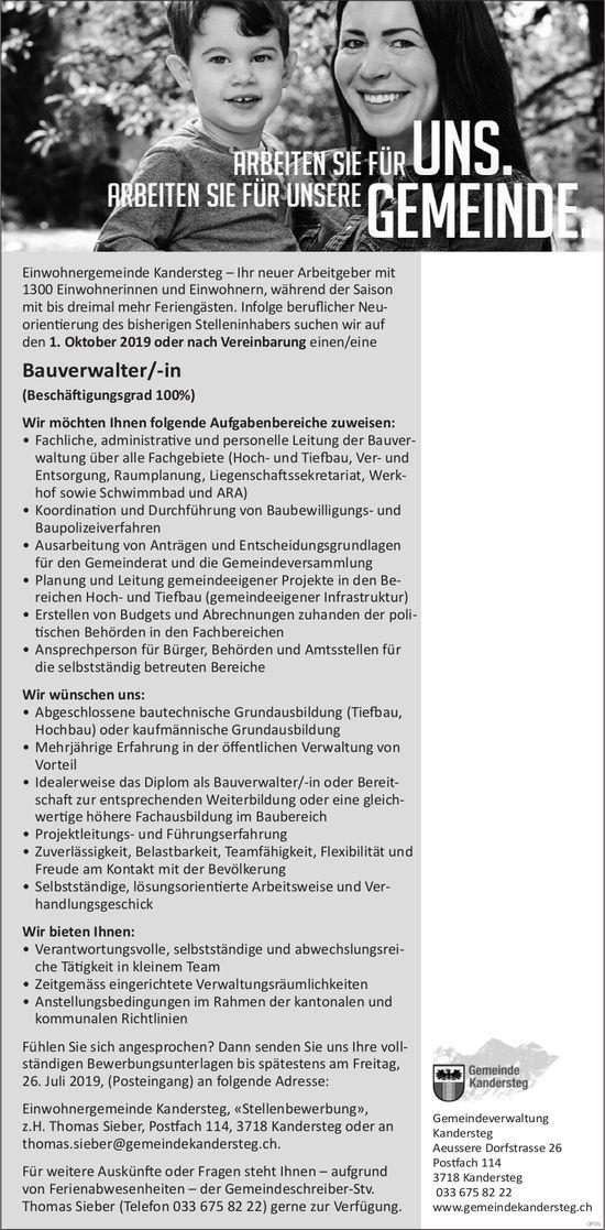 Bauverwalter/-in, 100%, Einwohnergemeinde Kandersteg, gesucht