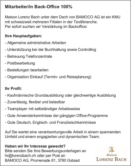 Mitarbeiter/in Back-Office 100%, BAMOCO AG, Gstaad, gesucht