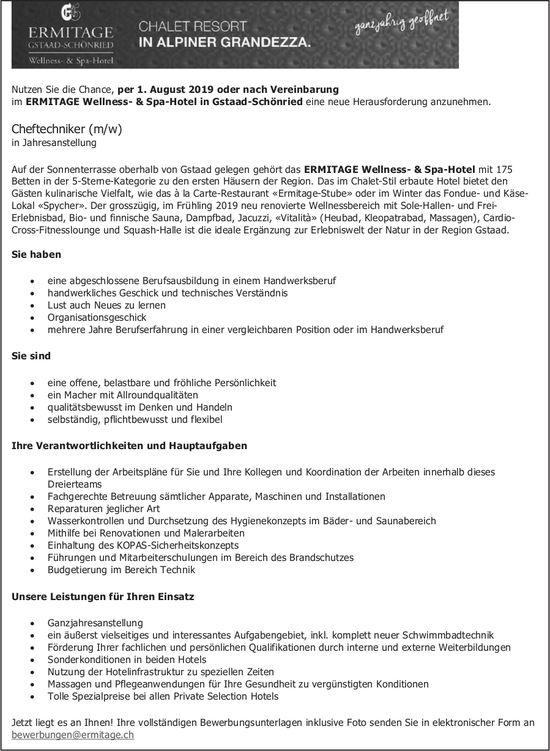 Cheftechniker (m/w), ERMITAGE Wellness- & Spa-Hotel in Gstaad-Schönried, gesucht