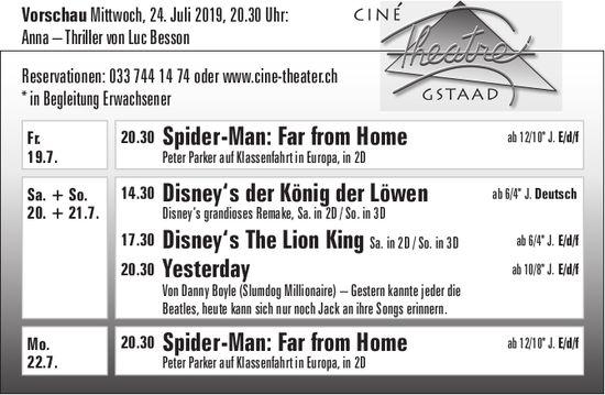 Kinoprogramm, Ciné Theatre, 19. - 22. Juli, Gstaad