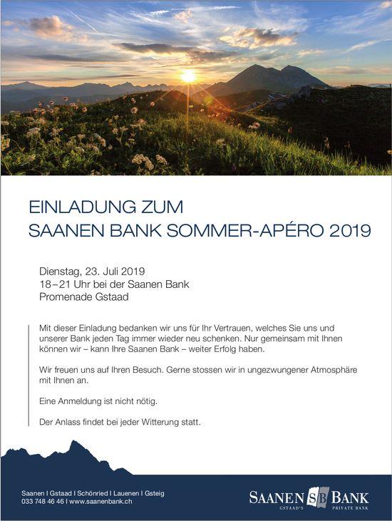 EINLADUNG ZUM SAANEN BANK SOMMER-APÉRO 2019, 23. Juli, Promenade Gstaad