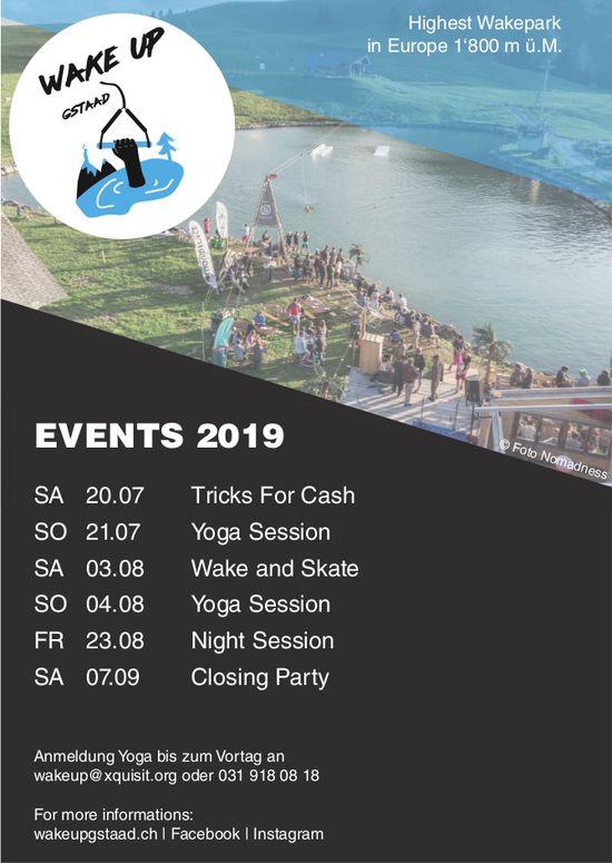 Wake Up, Gstaad - Events 2019, 20. Juli bis 7. September