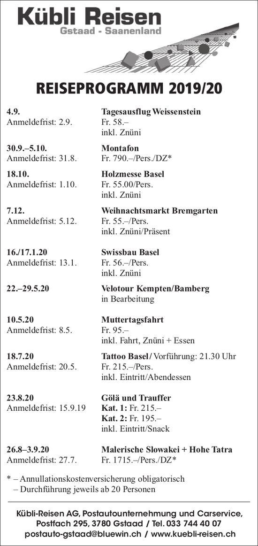 REISEPROGRAMM 2019/20, Kübli-Reisen AG, Gstaad-Saanenland