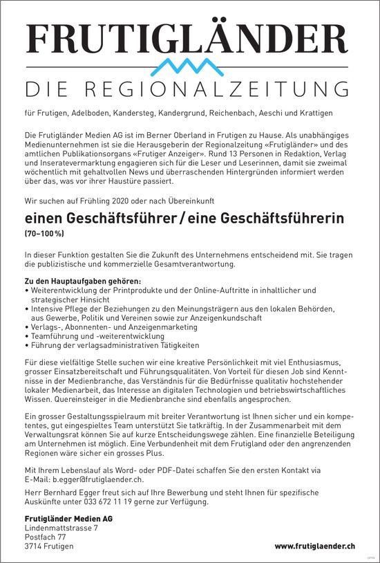 Geschäftsführer/in, Frutigländer Medien AG, Frutigen, gesucht