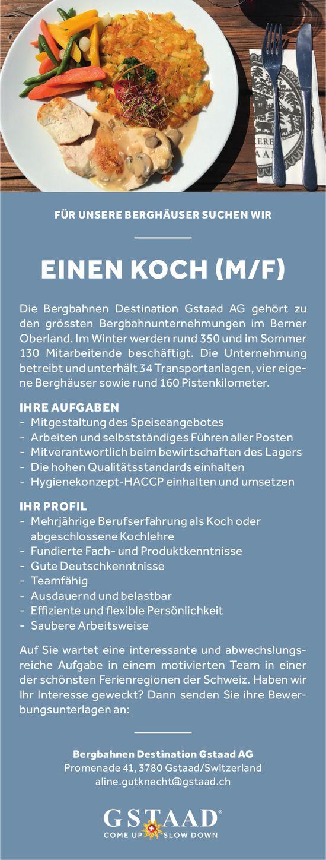 KOCH (M/F), Bergbahnen Destination Gstaad AG, gesucht