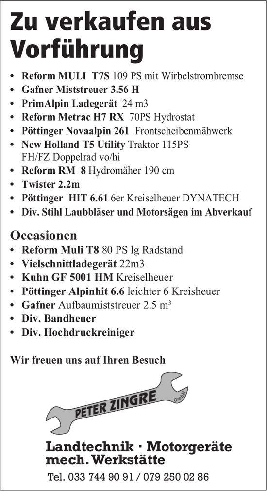 Peter Zingre, Landtechnik, Motorgeräte... - Zu verkaufen aus Vorführung....