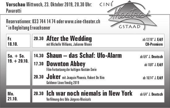 Ciné Theatre Gstaad - Programm