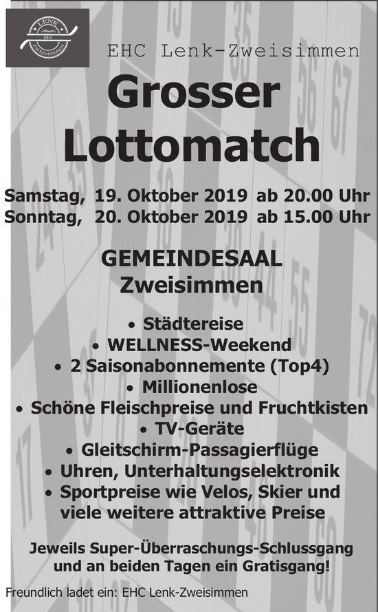 EHC Lenk-Zweisimmen: Grosser Lottomatch, 19. und 20. Oktober, Gemeindesaal Zweisimmen