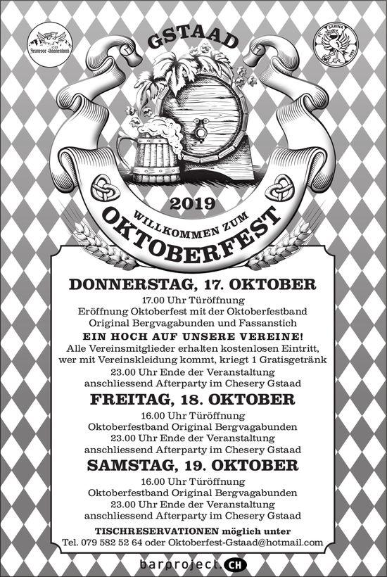Oktoberfeest, 17. bis 19. Oktober, Gstaad