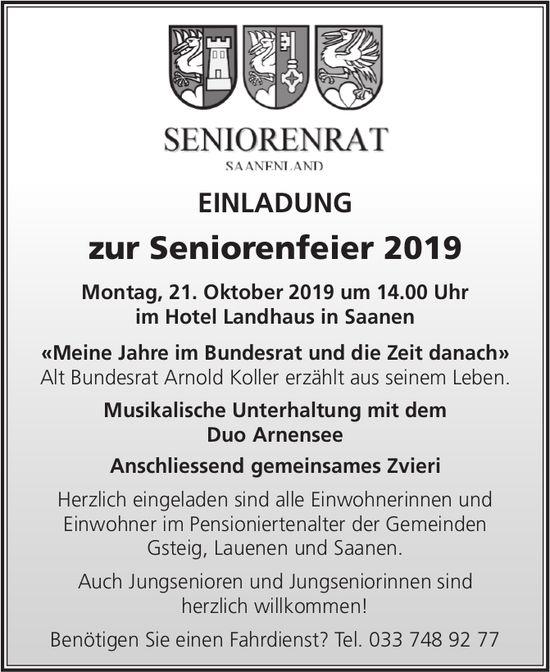 Seniorenrat: Seniorenfeier, 21. Oktober, Hotel Landhaus Saanen
