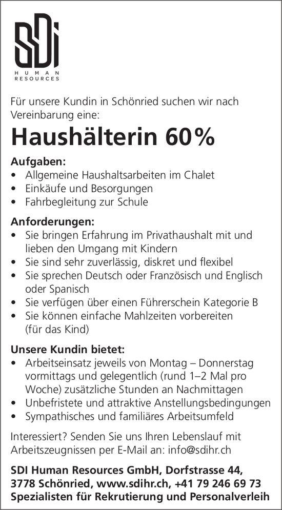 Haushälterin 60%, SDI Human Resources GmbH, Schönried, gesucht