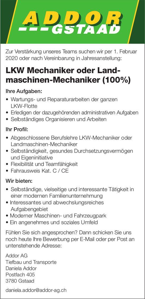 LKW Mechaniker oder Landmaschinen-Mechaniker (100%), Addor AG, Gstaad, gesucht