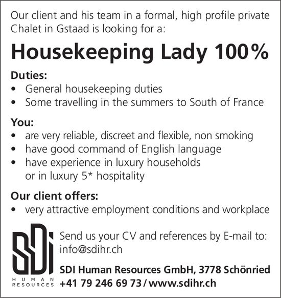 Housekeeping Lady 100%, high profile private Chalet in Gstaad, searched