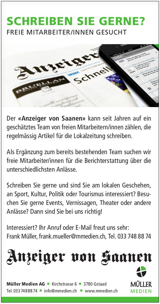 FREIE MITARBEITER/INNEN, Müller Medien AG, Gstaad, Gesucht