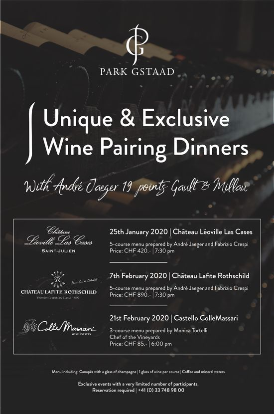 HOTEL PARK, Gstaad, Unique & Exclusive Wine Pairing Dinners