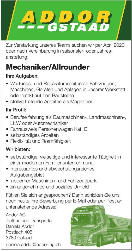 Mechaniker/Allrounder, Addor AG Tiefbau und Transporte, Gstaad, Gesucht