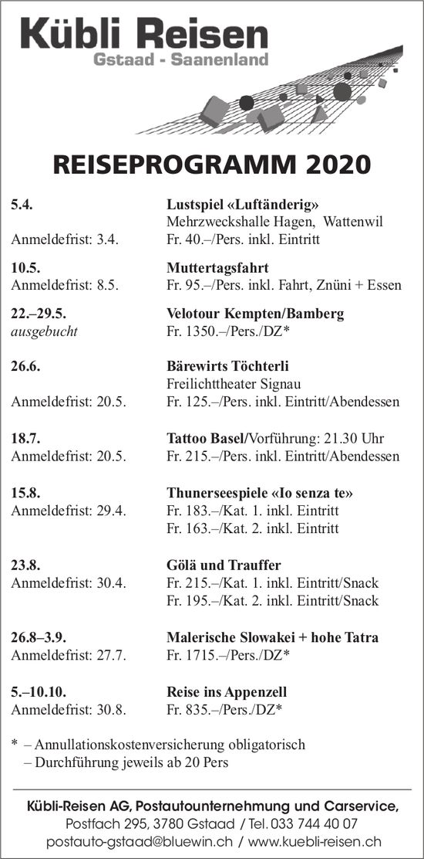 REISEPROGRAMM 2020, Kübli-Reisen AG,  Gstaad