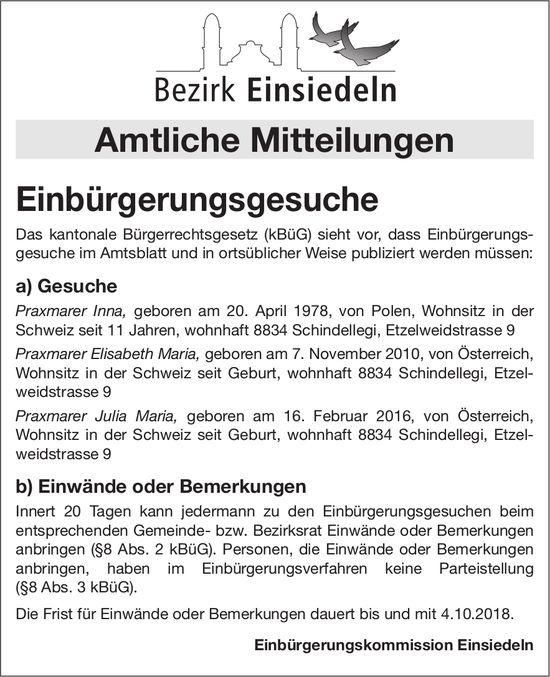 Bezirk Einsiedeln: Einbürgerungsgesuche