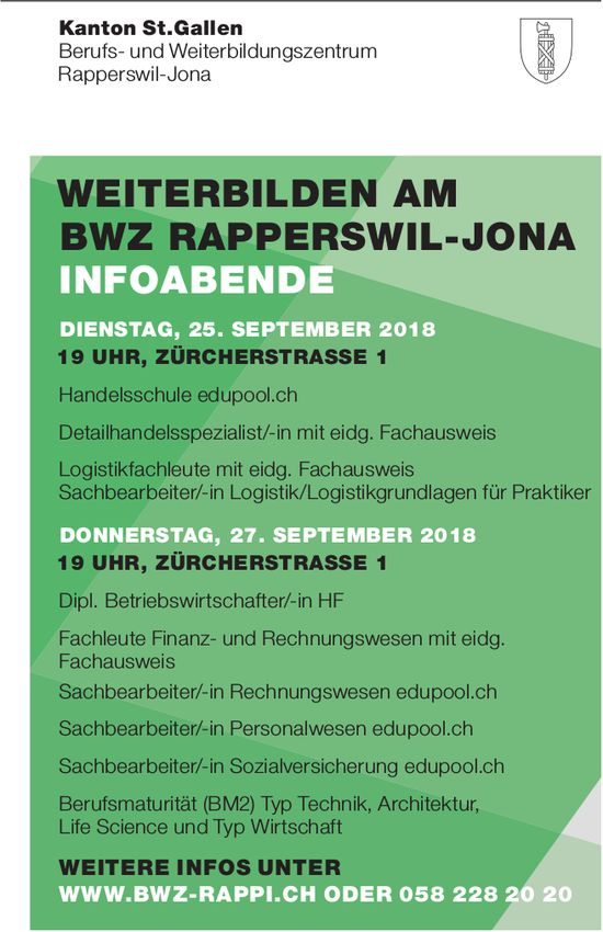 Weiterbilden am BWZ Rapperswil-Jona, Infoabende: 25./27. September