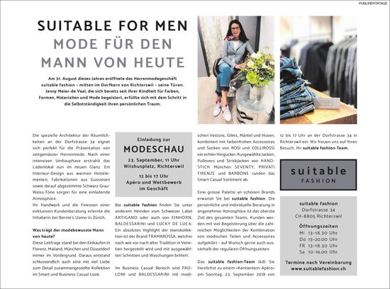 Modeschau, 23. September (Wiishusplatz, Richterswil), suitable fashion