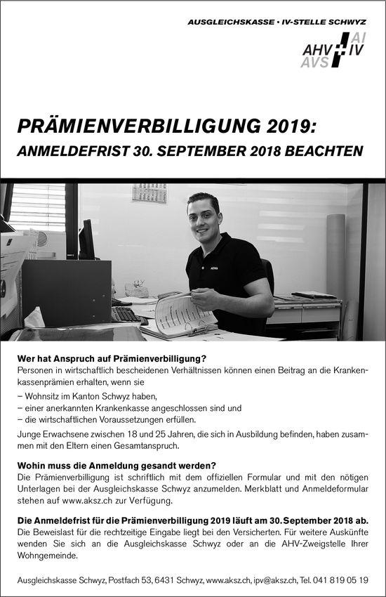 Prämienverbilligung 2019, Anmeldefrist 30. September, Ausgleichskasse Schwyz