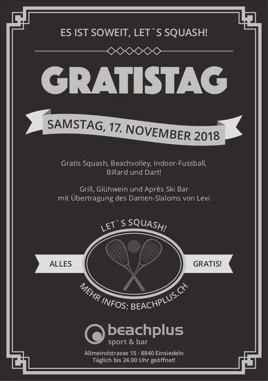 Gratistag, 17. Nov., beachplus sport & bar