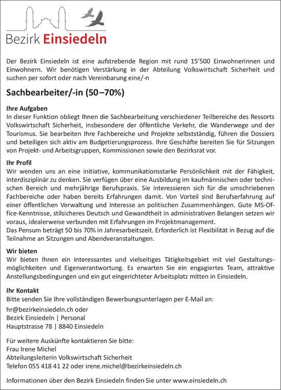 Sachbearbeiter/-in, 50–70%, Bezirk Einsiedeln