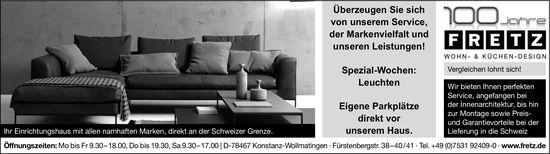 Spezial-Wochen: Leuchten, Fretz Wohn- & Küchen-Design