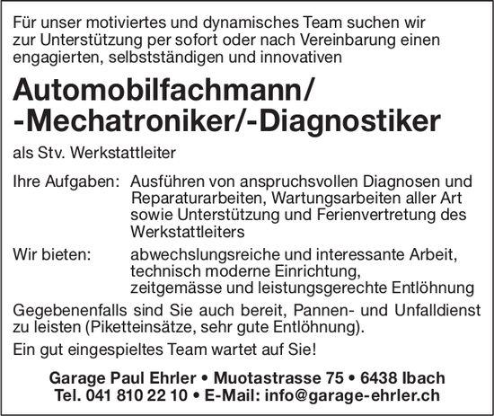 Automobilfachmann/-Mechatroniker/-Diagnostiker, Garage Paul Ehrler