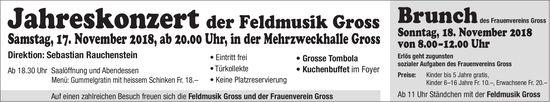 Jahreskonzert der Feldmusik Gross, 17. Nov., MZH Gross / Brunch, 18. Nov.