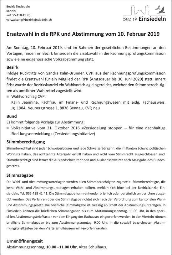 Bezirk Einsiedeln: Ersatzwahl in die RPK und Abstimmung, 10. Feb.
