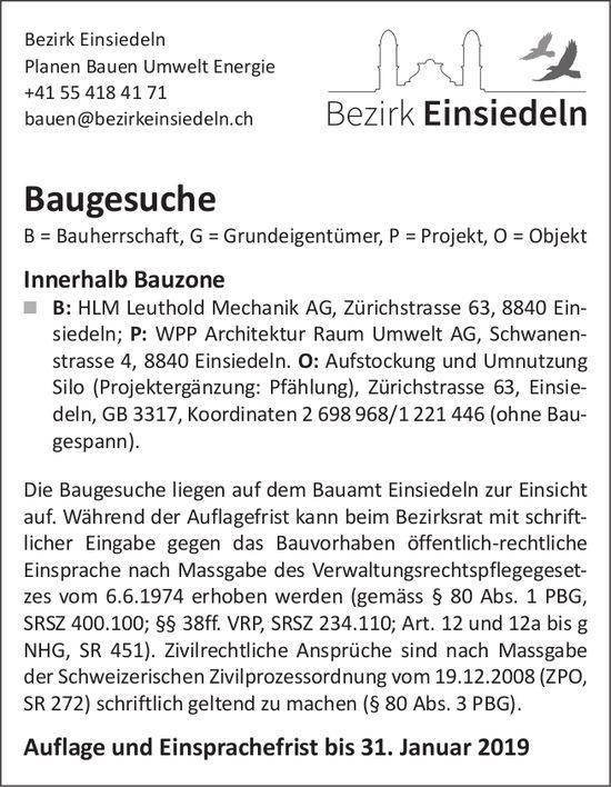 Bezirk Einsiedeln: Baugesuche